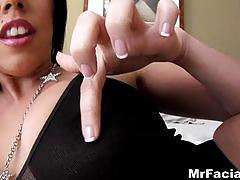 blowjob, mrfacial.com, brunette, orgasm, big boobs, blow job, cum shot, pov, ball sucking, sloppy, deepthroat, gag, face fuck