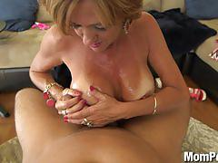 mature, amateur, mompov.com, cougar, milf, big tits, busty, facial, blonde, titty fucking, tan lines, riding, hd