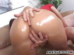 Oiled bootylicious ass from these horny amateur