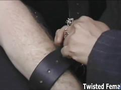 Mistress with huge boobs tortures slave's cock