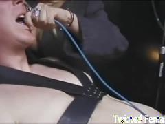 Mistress with huge boobs tortures slave's cock