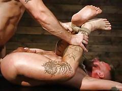 gay, ass fingering, tied up, rope bondage, domination, slave, anal sex, bound gods, kink men, trenton ducati, hoytt walker