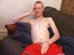 Sexy redhead stud kaos jerks off his hard cock.