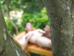 Sexy asian twink jerks off his hairy cock outdoors