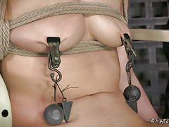 milf, bdsm, brunette, ropes, pussy gaping, clamps, mouth gagged, weights, tied on chair, hard tied, casey calvert, jack hammer