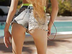 babe, outdoor, solo, slim, music, long hair, brunette, undressing, swimming area, jean shorts, wow girls, vanessa xxxxxxxx