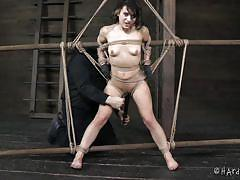 small tits, milf, bdsm, vibrator, brunette, fat ass, tied up, basement, ropes, clamps on tits, hard tied, yulia catava