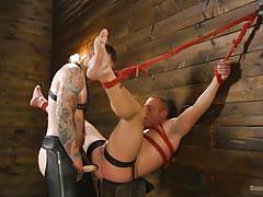 Hardcore punishment for newbie bondage boy