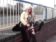 Flashing blonde kaz masturbating in public and outdoor strip