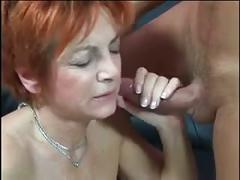Red mature fucks young man