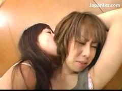 2 young girls kissing licking armpit neck