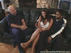 Sweet big tits wife gets another man cock.