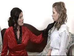 Beautiful busty lesbian seduces teen slut