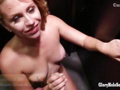 Chubby blonde gloryhole cock sucker