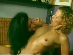 Muscle chick gets it on, till another one joins in