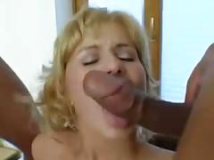 Czech blonde loves interracial gangbang