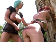 Mistress flogs sub's 34dd tits & spanks her ass outdoors