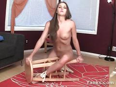 Sexy belle fucking a chair