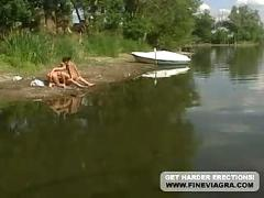 Tyra misoux threesome by the river