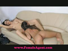 Busty babe seduced by the female agent