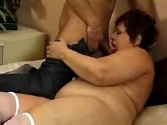Chubby mature fucks in white stockings
