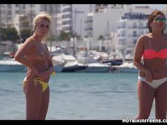 Topless beach bikini babes hd voyeur video