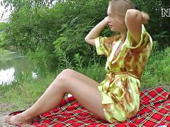 masturbation, outdoor, teenager, young, masturbate, public, outside, bottle, beer, picnic, blonde, masturbating, solo, comb, brush