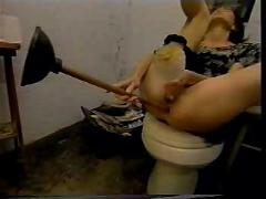 60 cm  toilet brush in her ass