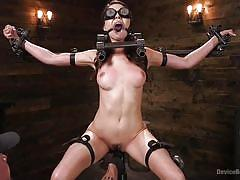 bdsm, babe, torture, glasses, vibrator, fingering, mouth gag, electric wand, metal bondage, device bondage, kink, melissa moore
