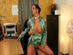 Clothed glamour euro couple blowjob and cumshot