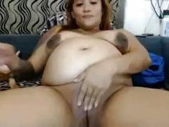 Pregnant lady fucks her pussy