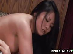 Horny asian babe moans during hardcore pussy banging
