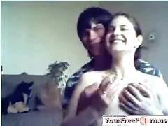 Russian teen couple fucks on cam