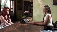 Lesbian babe eats pussy on the table