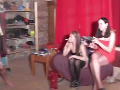 Two nasty teens having hardcore backstage sex