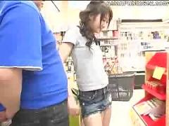 Asian sucks dick in a grocery store - assian ass