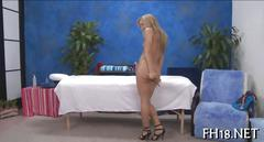 Blonde cutie strips for a dastardly oil massage