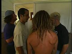 Kelli cage gets fucked in restroom while other guys watch