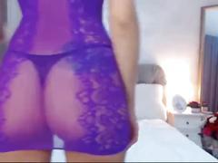 Hot webcam girl 35: voluptuous brunette in purple see through mini dress