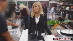 Blonde milf holly takes a rough pawnshop fucking