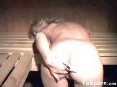 Couple fuck in sauna