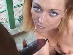 blond, slut, licking, black, cock