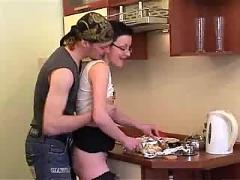 Kitchen sex with russian couple -russian pussy