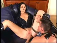 Hot russian chick diana fucks in leather sex suit - hot russian