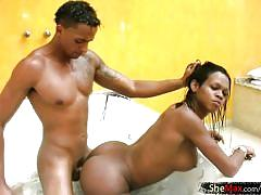 Black teen ts gets her massive ass drilled and swallows cum