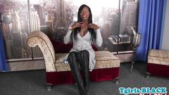 Black busty tgirl strips and jerks hard cock