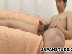 Japanese stud and his fat hairy cock