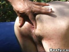 Hung beefy muscle dudes fuck outdoors!