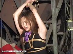Japanese cutie tied up and got water tortured