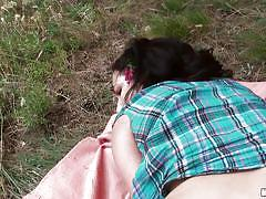 babe, brunette, anal sex, outdoors, pov, let's try anal, mofos network, anne angel